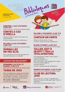 Cartell amb les activitats infantils i juvenils agost 2018