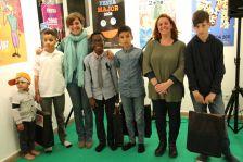 Infants premiats al Petit Poeticae 2019, amb l'alcaldessa i la regidora de Cultura i Patrimoni