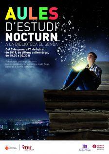 Nou horari nocturn de la Biblioteca Elisenda pel gener del 2019