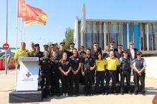 Fotografia de família de tots els cossos de seguretat que han pres part a la inauguració de la seu de la Policia Local